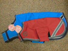 NEW BRIDLEWAY WATERPROOF DOG COAT/RUG FLEECE LINED~BLUE & RED AND VARIOUS SIZES