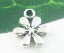 Wholesale Mixed Lots Silver Tone Flower Charms Pendants 13x11mm