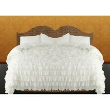 !! CYBER MONDAY DEAL !! 1000TC EGYPTIAN COTTON WHITE SOLID  RUFFLED DUVET SET