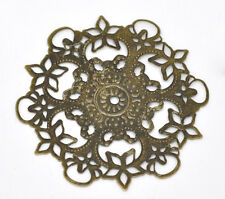 Wholesale Lots Bronze Tone Filigree Flower Wraps Connectors 55mm