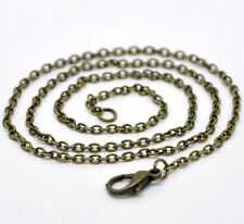 Wholesale Lots Bronze Tone Lobster Clasp Chain Necklaces 2x3mm 18""