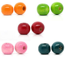 Wholesale Lots Mixed Dyed Round Wood Spacer Beads 10x9mm