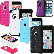 Heavy Duty Hard Soft Hybrid Bling Diamond Case Cover Shell for Apple iPhone 5C