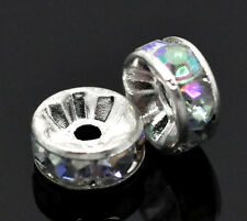 Wholesale Lots Silver Plated AB Color Rhinestone Rondelle Spacers Beads 8mm