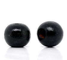 Wholesale Lots Black Dyed Round Wood Spacer Beads 10x9mm