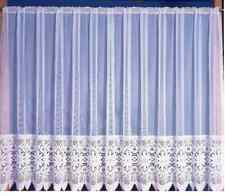 PLAIN TOP HEAVY LACE BOTTOM FLORAL WHITE NET CURTAIN ALL SIZES AVAILABLE 1386