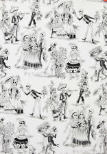Alexander Henry White Blk skeleton fabric FQ rockabilly 50s retro goth DIY biker