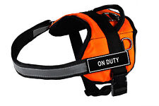 DT Works Orange Dog Harness Velcro Patches ON DUTY