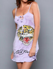 Ed Hardy Womens Babydoll Purple Tiger Drawstring Dress Nightgown  S ~ M ~ L New