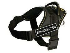 DT Fun Dog Harness in Yellow Trim with Velcro Patch AIR-SCENT DOG