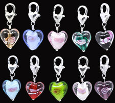 Wholesale Lots Glass Heart Clip On Charms Fit Link Chain Bracelet