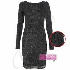 NEW WOMENS LADIES BODYCON GLITTER DRESS SLEEVED PARTY MIDI BLACK DRESSES TOPS
