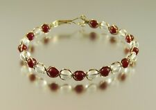 Wire Wrapped Handmade Gold Filled Garnet & Quartz Bead Bracelet