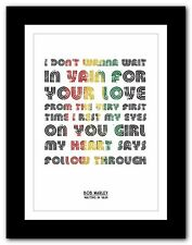 ❤  BOB MARLEY Waiting In Vain ❤ song lyric poster typography art print - 4 sizes