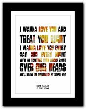 BOB MARLEY Is This Love ❤ song lyric poster typography art print - 4 sizes