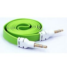 GREEN FLAT CABLE CAR AUDIO STEREO AUX WIRE 3.5MM ADAPTER for AT&T CELL PHONES