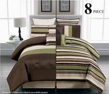 8PC Reversible Luxury Comforter Bed in Bag Bedding Set, Green/Brown/Beige
