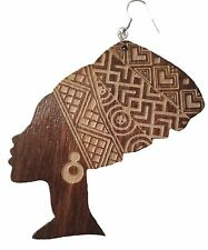 African woman head wrap silhouette wooden earrings or necklace laser engraved