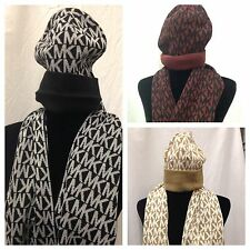 Michael Kors Signature MK Logo Hat Scarf Gift Set Boxed MSRP $88 FREE SHIP NEW