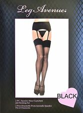 SPANDEX/LYCRA Garter Belt & Sheer Plain Top Stockings SET - O/S & PLUS