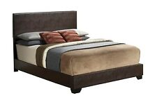 Modern Upholstered Leather Platform Bed with Headboard
