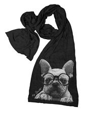 FRENCH BULLDOG Unisex Scarf Tri-Blend Hand Screen Print Extra Long Scarves
