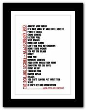 ❤ The Rolling Stones - Glastonbury SETLIST typography art poster print -A1 A2 A3