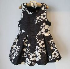 1827 Boutique Very Graceful Black & White Floral Dress Velvet Fleece Lined 1-4T
