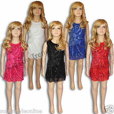 Girls Party Dress Sparkly Sequin Tunic 3-12 Glam * LAST FEW *