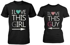 His and Her Matching T-Shirts for Couples - I Love This Girl and I Love This Guy