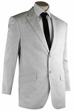 LIGHT GREY LINEN STYLE FORMAL BUSINESS POLY WOOL SUIT WITH PANTS(USI-007)