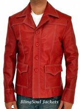 Fight Club Brad Pitt Leather Coat Jacket - Red Leather Blazer