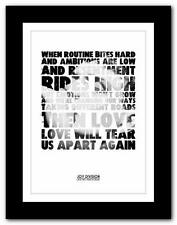 ❤ JOY DIVISION - Love Will Tear Us Apart  lyric poster art print A1 A2 A3  A4 #3