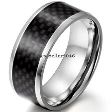 Comfort Fit Stainless Steel Mens Black Carbon Fiber Stripe Band Wedding Ring