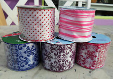 New Wired Christmas RIBBON Gift Wrapping Baroque Snow Flakes Polka Dots Stripes