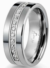 Diamond Tungsten Modern Men's Wedding Ring Band 8mm 0.25ct Anniversary Bridal