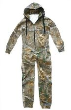 MENS HUNTERS OAK WOODLAND TREE CAMO ONESIE Hooded jump suit all in one Camping