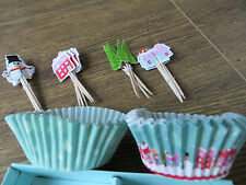 24 Christmas Cupcake Cases and Cocktail Stick Christmas Red Green