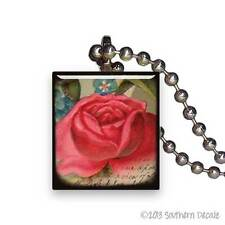 Reclaimed Scrabble Tile Pendant Necklace Jewelry - Red Rose Bloom Flower Vintage