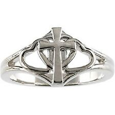 Sterling Silver, 14K Yellow or White Gold Covenant Hearts Cross Ring