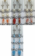"""Pearl beads and fish shape chain/link dangling hook Earrings, 2 1/4-3"""" long"""