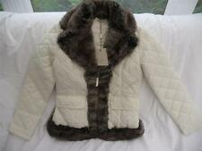 Christiano Baldinucci Designer Cream Quilted Jackets with Faux Fur Collar UK8