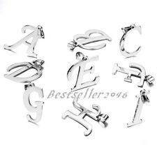 Men Women Silver Stainless Steel A-Z  Initial Alphabet Letter Pendant Necklace