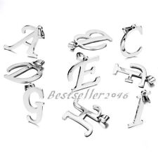 Silver Tone Alphabet Initial Capital Letter Pendant Necklace ( A -Z  available )