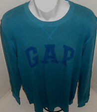GAP Men's Teal Blue Logo Thermal Long Sleeve Shirt M-L-XL