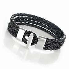 US Men Women Four Row Wrap Braided Leather Cuff bracelet wristband AB064