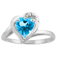 Heart Shaped Blue Topaz and Diamond Ring in 10K White Gold