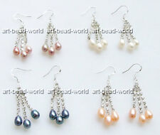 variations color mixed-color freshwater pearl tassels rhinestone dangle earring