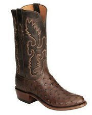 LUCCHESE 1883 MENS CHOCOLATE BURNISHED FQ OSTRICH COWBOY BOOTS N1132.R4! SALE!!