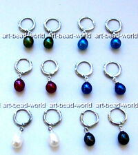 variations color Genuine 8X10mm drip Dangle Natural Freshwater pearls Earring